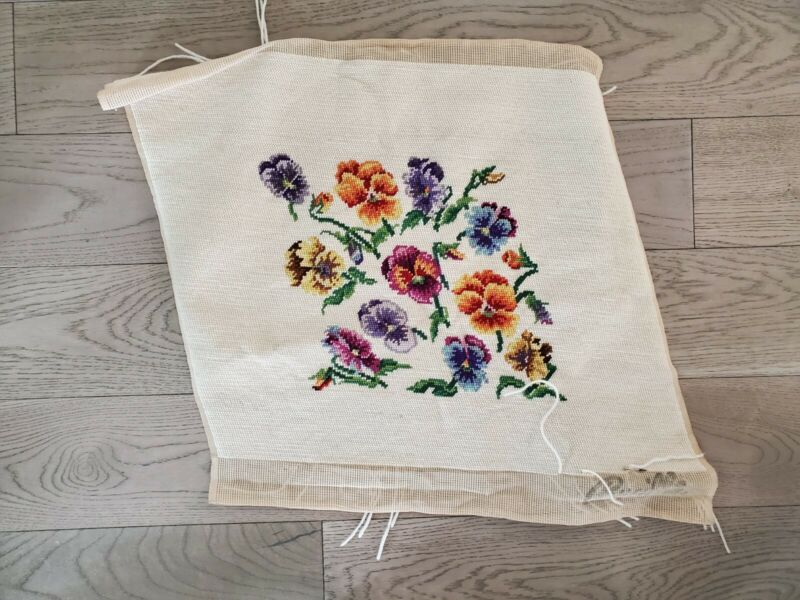 """Vintage Finished Needlepoint 18x22"""" Bucilla Pansies, Flowers; for pillow, chair"""