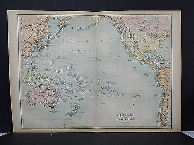 Antique Map, Black's, 1862 Oceania, Pacific Ocean M7#28