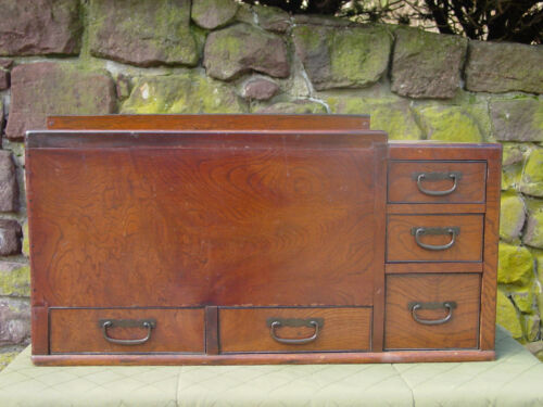 Antique Early 1900s Japanese 5-Drawer Copper Lined Hibachi Heating Device