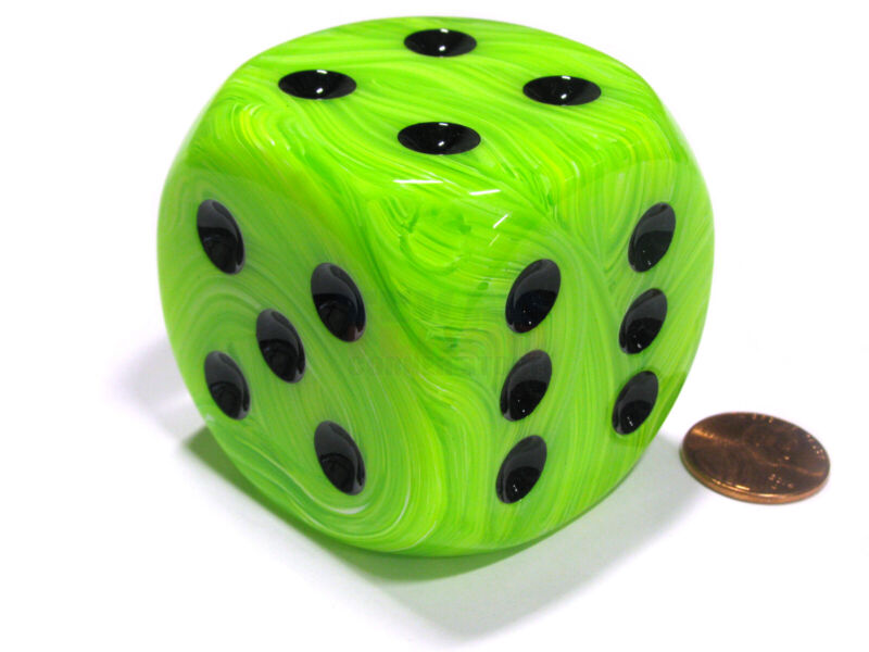 Vortex 50mm Huge Large D6 Chessex Dice, 1 Piece - Green with Black Pips