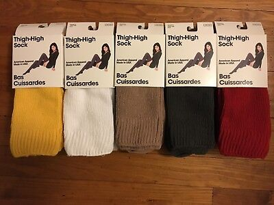 American Apparel Thigh High Socks Yellow, White, Camel, Gray, Red USA Made