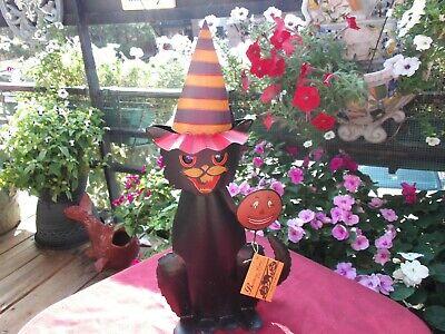 RARE VINTAGE BETHANY LOWE HALLOWEEN TIN PARADE BLACK CAT VOTICE