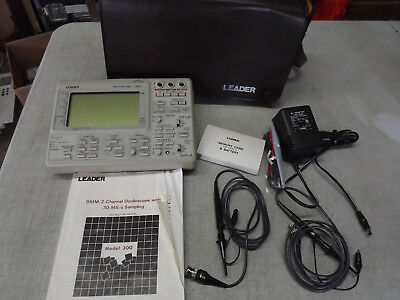 Leader Model 300 Portable Oscilloscope Dmm 2-channel With Manual And Bnc Probe