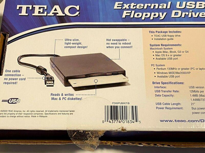 New TEAC External USB Floppy Drive (FD-05PUW)