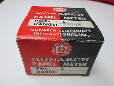 Vintage Monarch 0-200 Ua Panel Meter Pmc- 4l Microamperes Made In Japan Nos