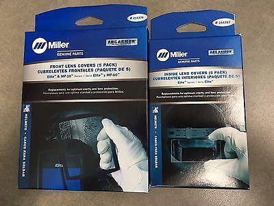 Miller 216326 216327 Outside Inside Cover Lens Plates 5 Packs Elite Mp-10