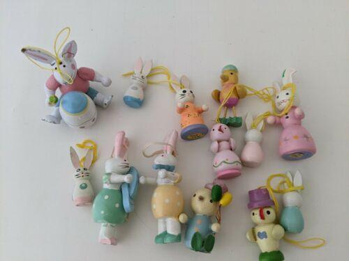 Vintage EASTER Mini  Hand-Painted  Wood  Ornament  Lot Chicks Bunnies #1