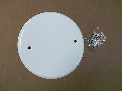 "NEW 5"" Diameter Round Blank Ceiling Fan Box Cover for 4"" Electrical Box White"