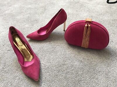 Ted baker Clutch Bag And Matching Heels Size 38 Uk 5 Hot Pink Suede