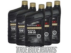 Honda Genuine Motor Oil 10w 30 Synthetic Blend 5 Quarts