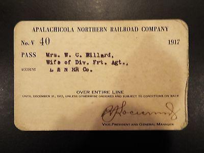 Apalachicola Northern Florida Railroad Company Pass 1917