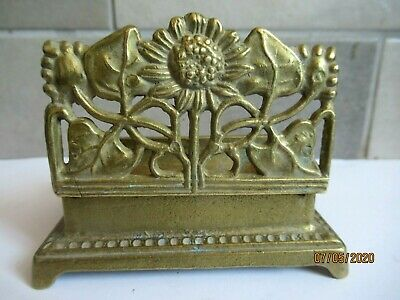 SUPERB SOLID BRASS ART NOUVEAU SUNFLOWER STAMP BOX