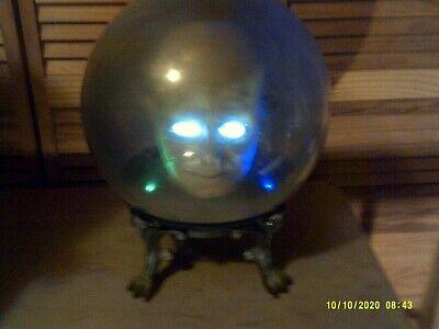 "Vtg Gemmy Spirit Ball 14"" Animated Talking Zultan Fortune Teller Head In Globe"