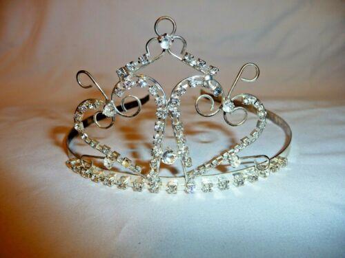 Vintage Sterling Silver CZ Headband Head Jewelry Hearts Tiara