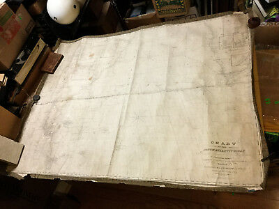 VINTAGE Orig. 1844 Chart of SOUTH ATLANTIC OCEAN e gw blunt -- aprox 37x49