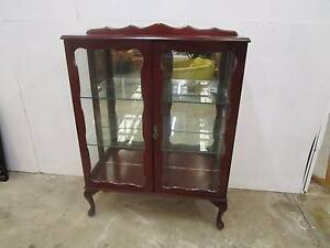 C38025 Vintage Queen Anne Mahogany Mirrored China Display Cabinet Unley Unley Area Preview