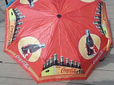 Vintage 1974 Coca Cola Coke Umbrella Advertising Yellow-Red Coke Case Rare