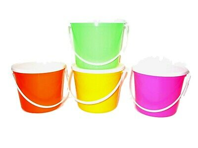 4 80 Ounce Plastic Buckets & Lids Pink Orange Lime Yellow Made in USA Lead - Pink Plastic Bucket