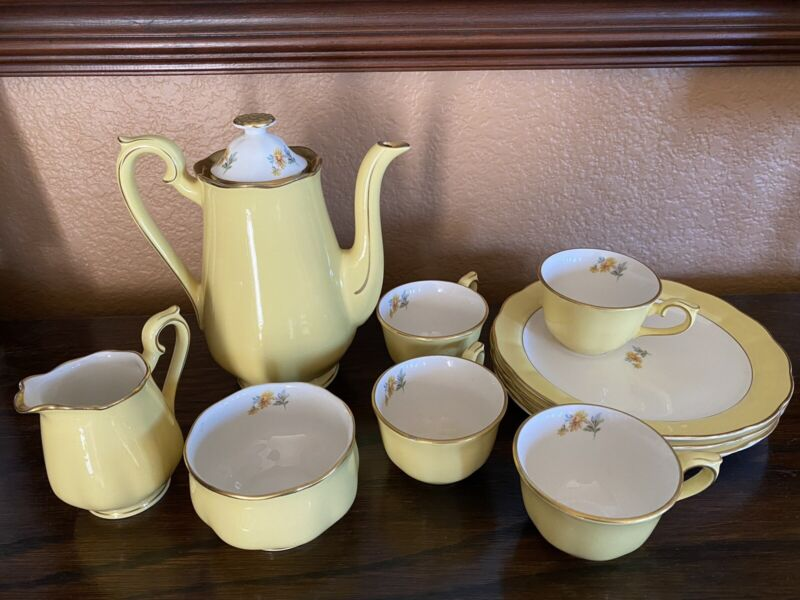 Vintage Hall China Buttercup Yellow Coffee Pot Teapot Cups Plates Creamer Sugar