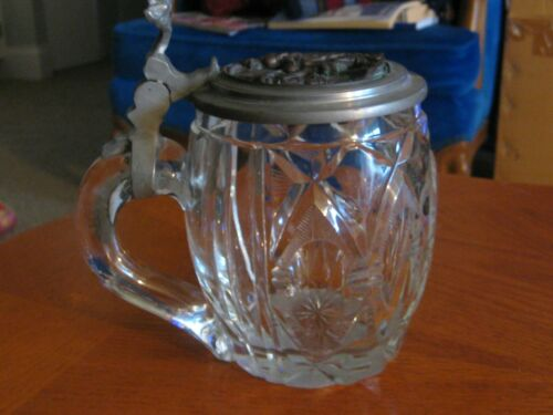 Antique German Beer Stein - Cut glass with inlaid Bronze Lid - Steel making