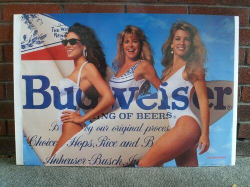 "1992 Budweiser Poster Surfer Girls w/ Surfboards 20"" x 28"" Bud Beer Vintage"