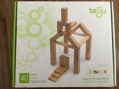 NEW 40 Piece Tegu Explorer Magnetic Wooden Building Block Set Jungle Toy ()