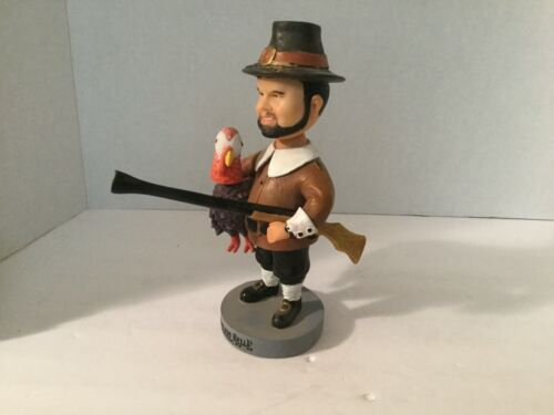 THANKSGIVING BOBBLE HEAD PILGRIM MAN W/TURKEY TABLE TOP FIGURE
