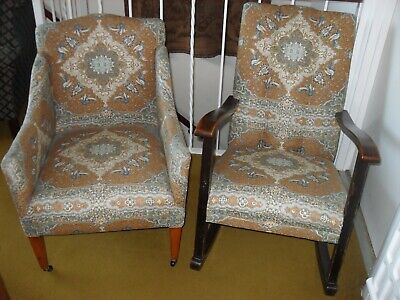 Vintage/Antique Rocking Chair and Tub/Arm Chair In Matching Upholstery