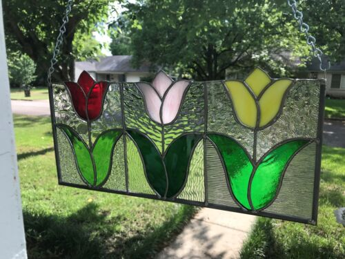 """Stained Glass Window Panel Suncatcher Spring Tulips- approx size 8""""x 17"""""""