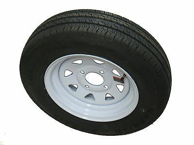 "*2* 145R12 LRD 8 Ply Radial Trailer Tire  on 12"" 4 Lug White Spoke Steel Wheel"