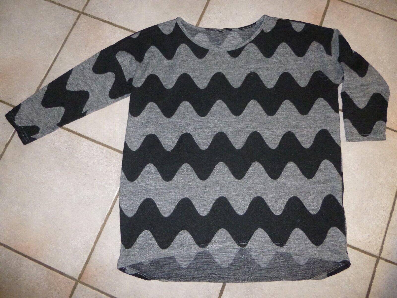 Only Damen Pullover Gr. L, 3/4-Ärmel, Wellenmuster schwarz grau, hinten länger