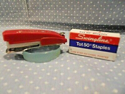 Vintage Swingline Tot 50 Red Mini Stapler With Box Of Staples Free Ship