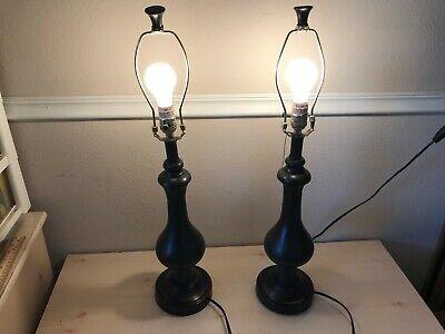 """Metal Table Lamp Dark Brown Large Pair Modern 28"""" Tall 6.5"""" Wide"""