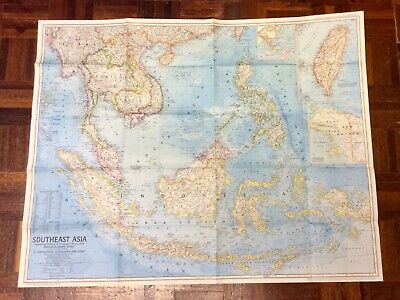 Large Vintage Map Of Southeast Asia - National Geographic 1968