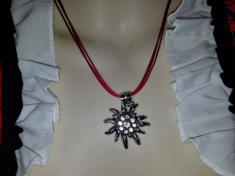 NWT TRADITIONAL EDELWEIẞ DIRNDL NECKLACE WITH RHINESTONES BRAND NEW