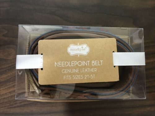 Mud Pie Needlepoint Belt Genuine Leather Size 2T-5T