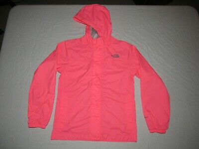 THE NORTH FACE GIRL'S HYVENT PINK ZIP UP HOODED RAIN JACKET SIZE M 10-12