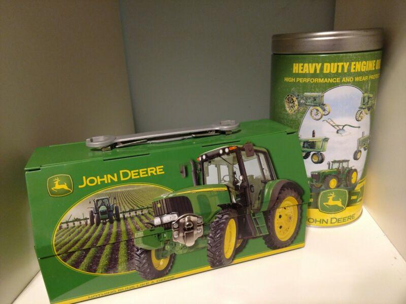 Tin Box Company John Deere Lunch Box Fold Back Lid Handle Wrench & Coin Bank Tin