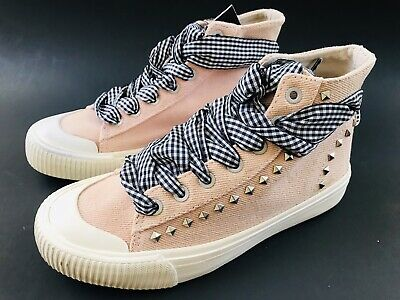 Zara Kids Girls Lace Up High Top Sneakers Boots Shoes Size 33 /1.5 Pink Canvas
