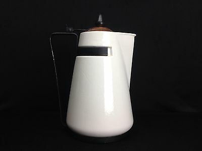 "Rare Vintage Mid Century Modern White Ceramic Iron Copper Tea Pot 12"" X 9"" X 5"""