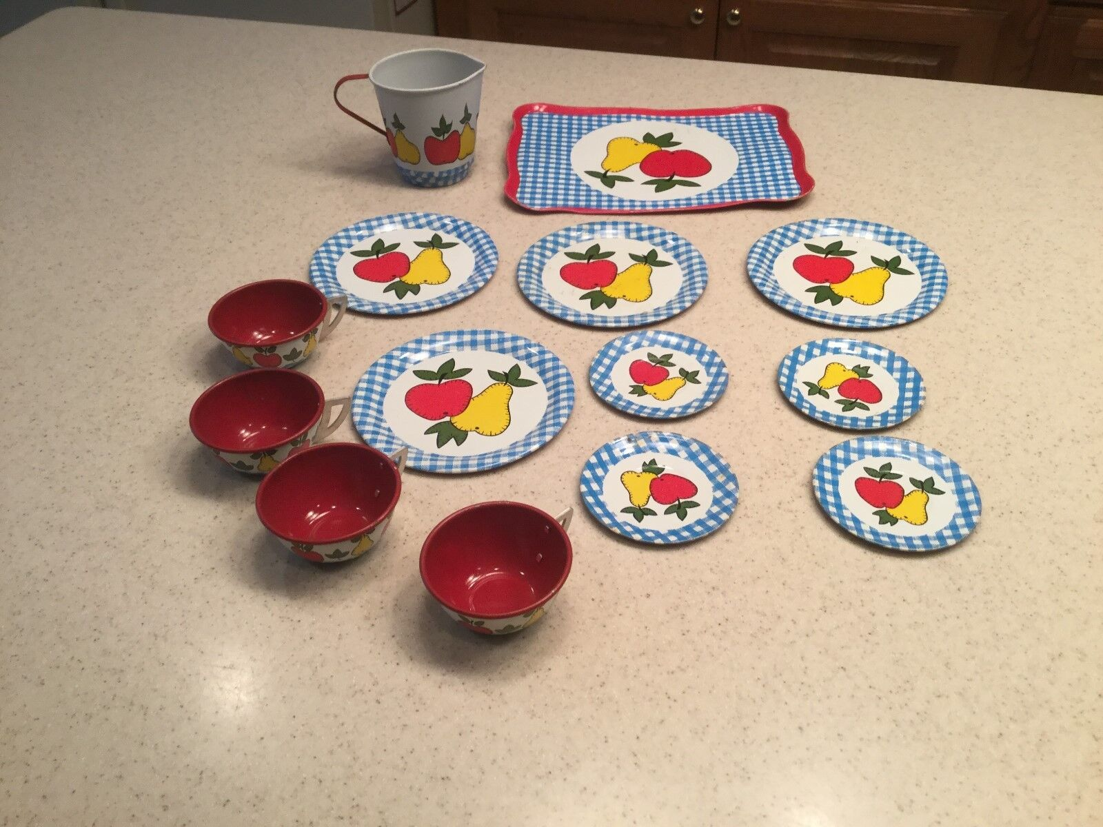 Vintage Ohio Art Fruit Apple Pear Tin Litho Tea Set Complete 14 Pieces