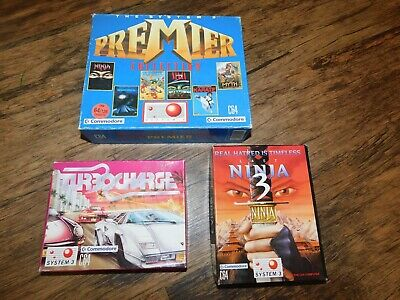 COMMODORE 64 C64 SYSTEM 3 LAST NINJA 3 , TURBO CHARGE , PREMIER COLLECTION GAMES