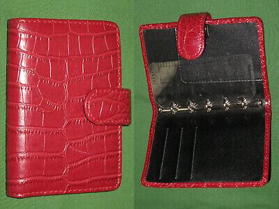Mini 0.5 Red Faux Reptile Leather Unbranded Planner Binder Organizer Filofax
