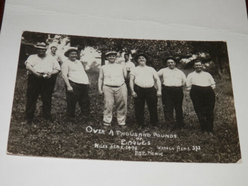 NILES OHIO - WARREN  REAL-PHOTO POSTCARD - FRATERNAL ORDER of EAGLES - BIG MEN!
