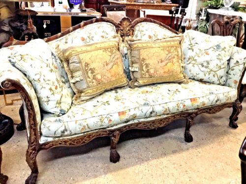 Antique Style Chippendale Sofa Hand Carved With Gold Leaf Accents