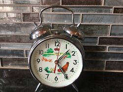 Vintage Old Style Keywound Chrome Metal Alarm Clock Retro Twin Bell -PreOwned