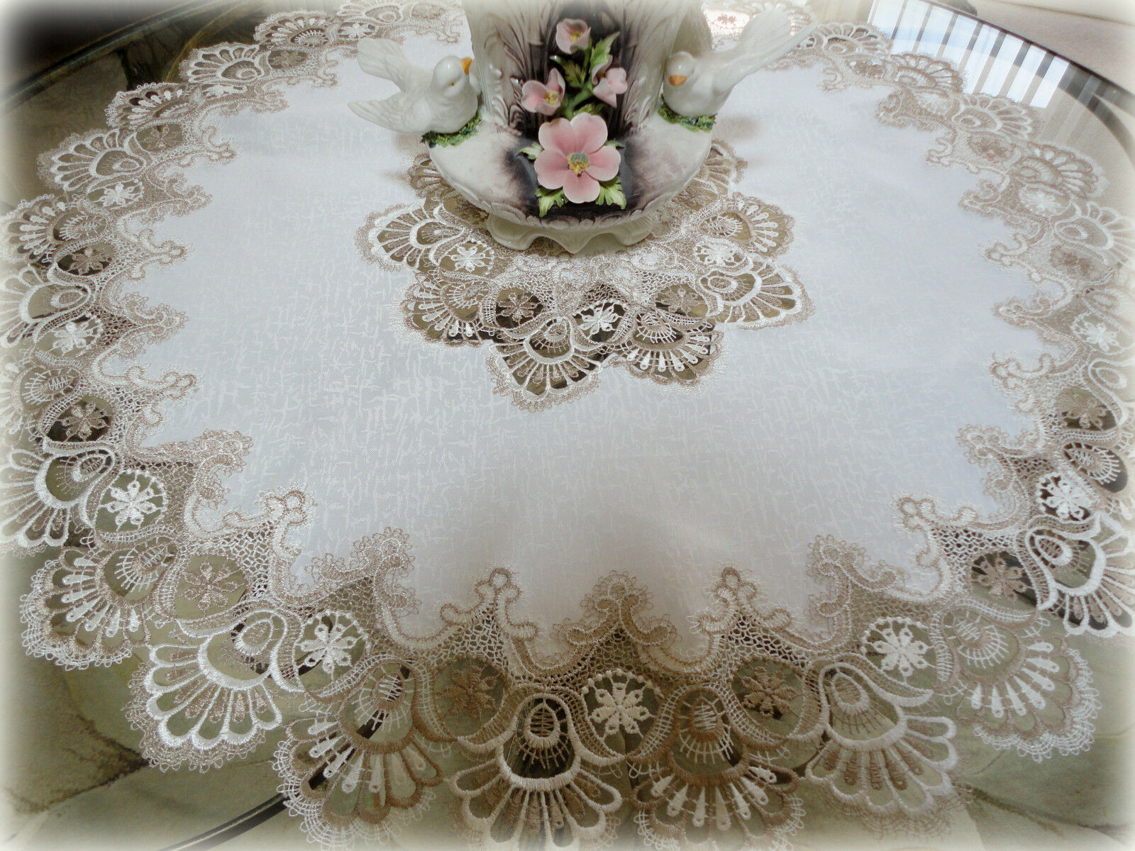 Купить 36 X-Large Lace Doily Table Topper Taupe Neutrals Antique White Tablecloth