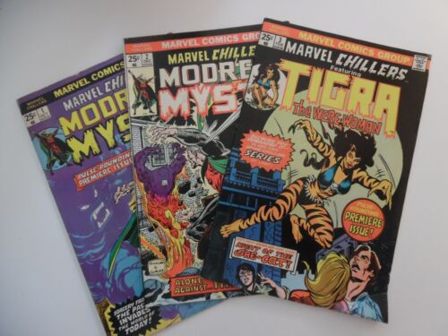 Marvel Chillers - Modred The Mystic #1 #2 TIGRA #3 - 3 COMIC LOT   VG