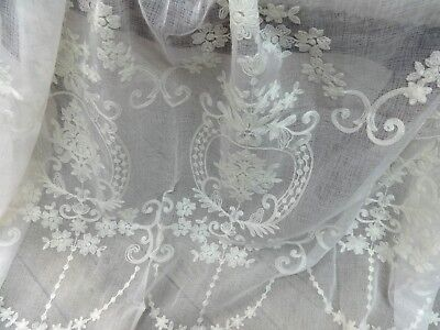 """EXQUISITE NEW 60""""X98"""" FRENCH STYLE SEMI SHEER CREWELWORK EMBROIDERED CURTAINS"""