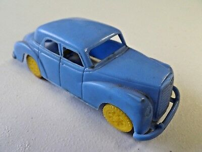 - Vintage Plastic Toy Sedan Mercedes Benz Missing Tire Blue with Yellow Wheels